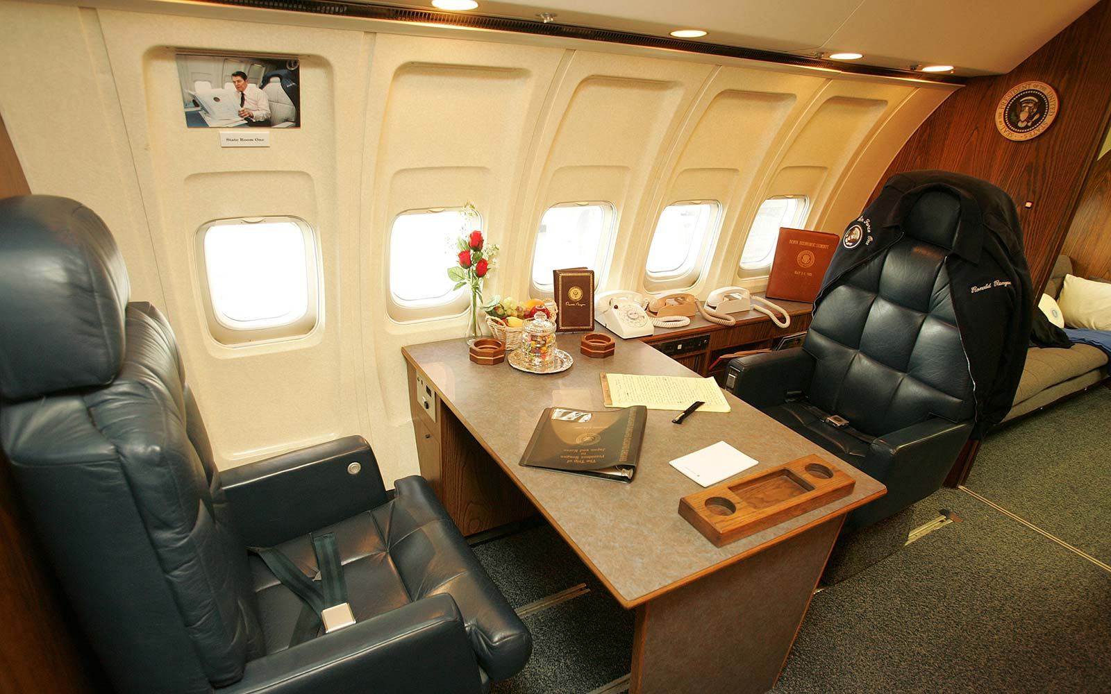 Ronald Reagan Air Force One interior Presidential desk museum