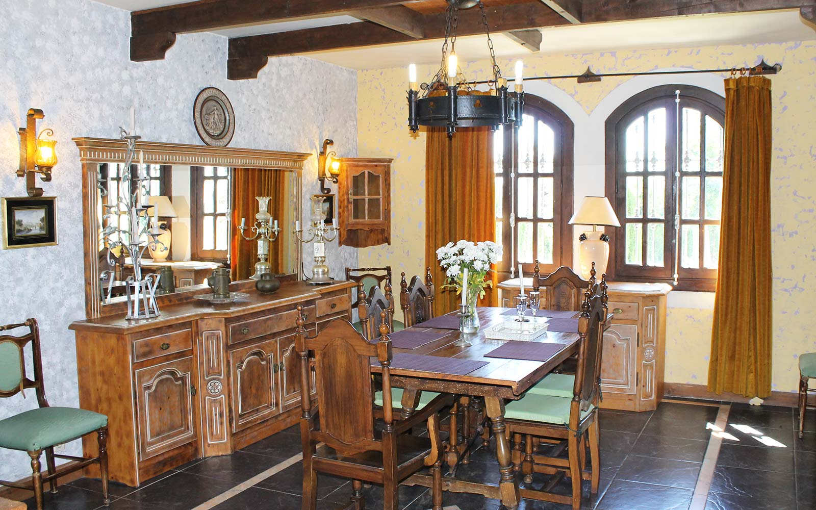 Costa Del Sol Medieval Drawbridge Castle for Sale Spain dining room