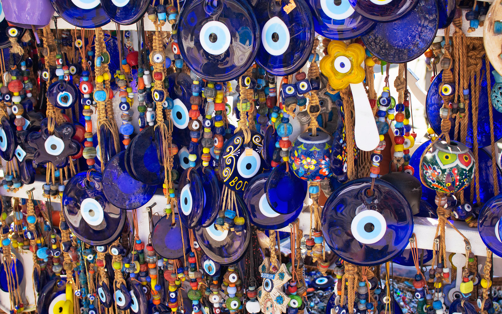 Close up view of evil eye souvenirs.