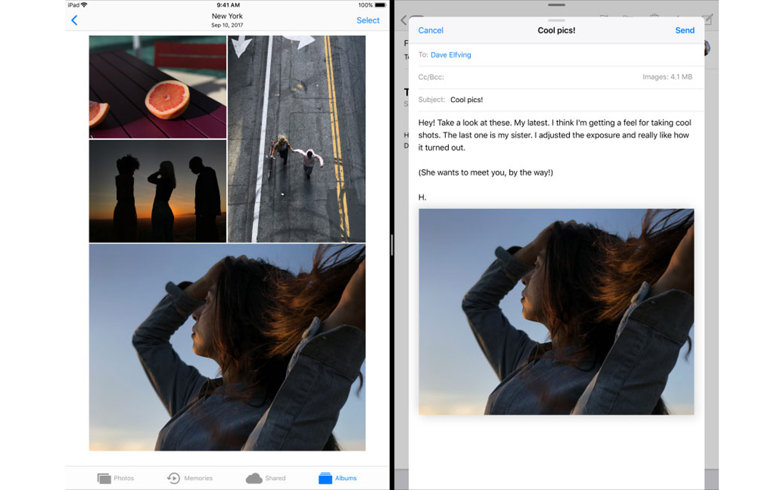 New drag and drops picture feature on Apple iOS 11