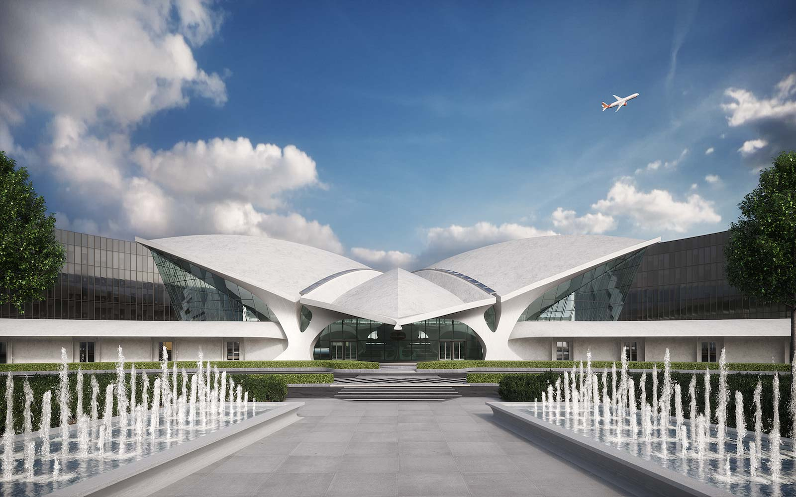 Get a first look at the designs for the new twa hotel at for Hotels near jf kennedy airport