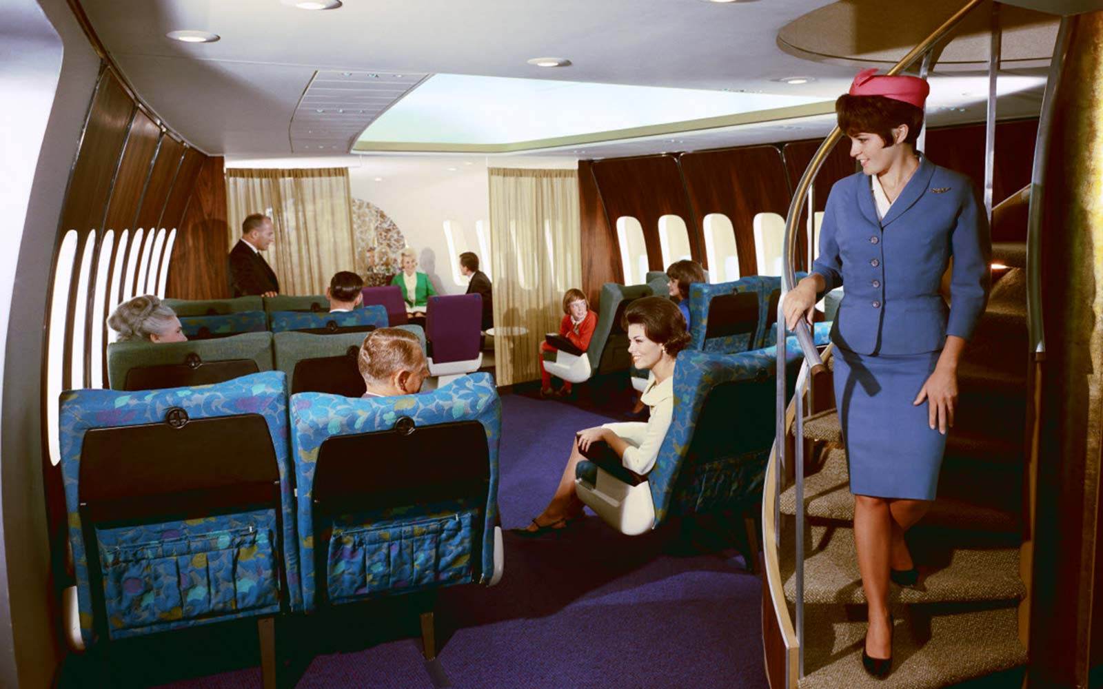Vintage Historic Archival United Boeing 747 airplane interior 1970s