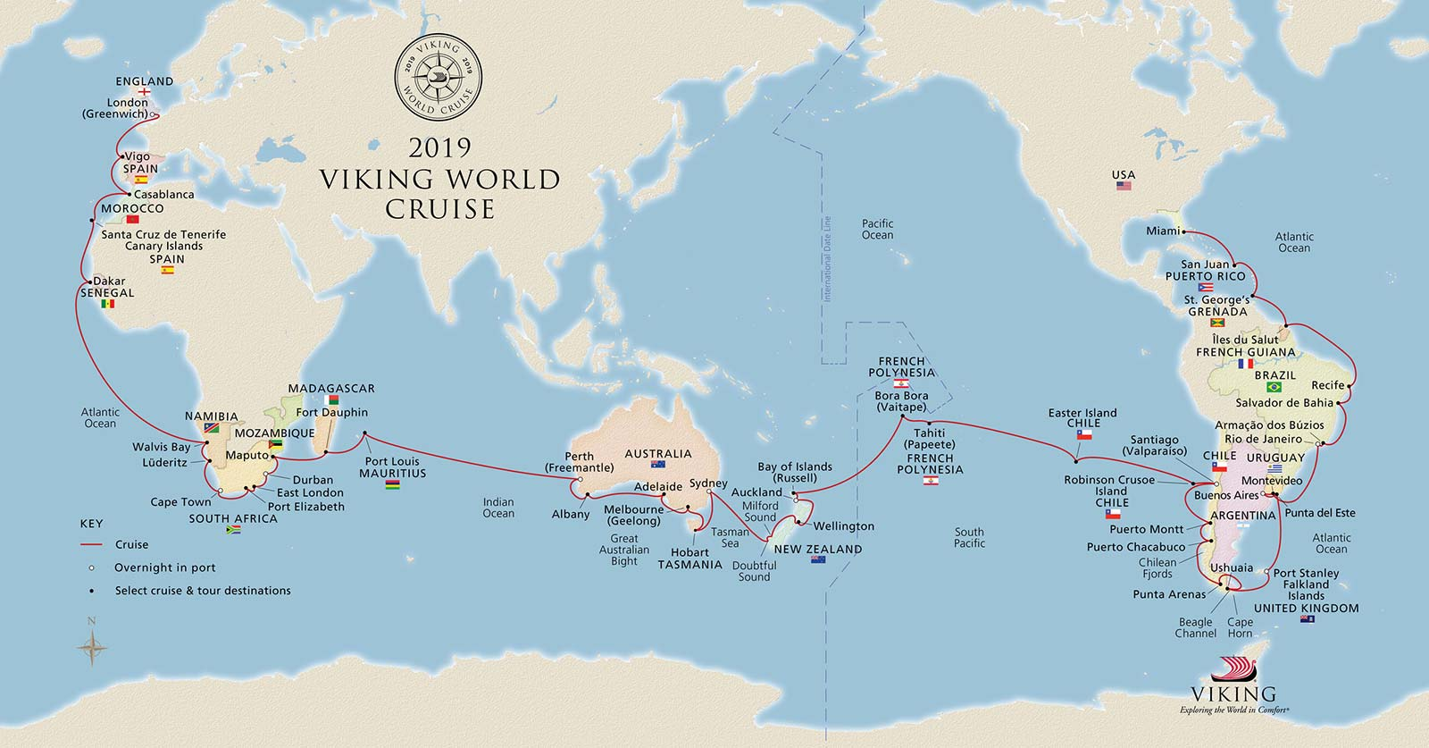 Ahead of its first-ever World Cruise scheduled for this winter, Viking Cruises announced Viking Sun will continue to sail the globe on its second World Cruise, departing January 2019