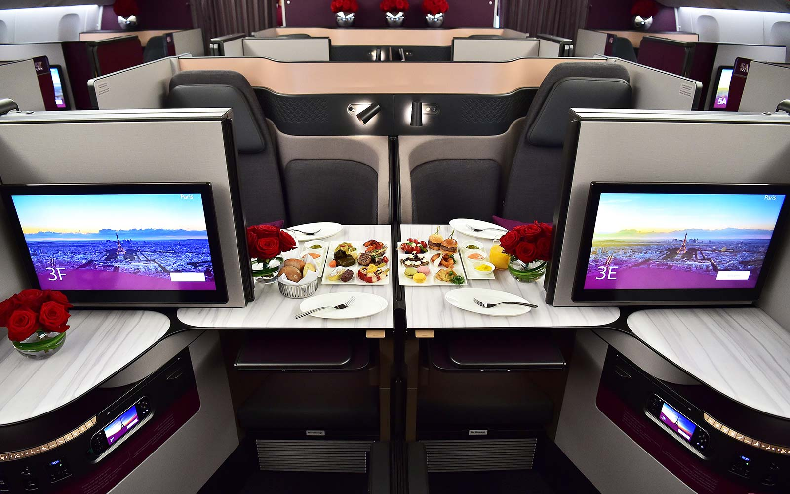 Qatar Airways Business Class QSuite double bed luxury service flight