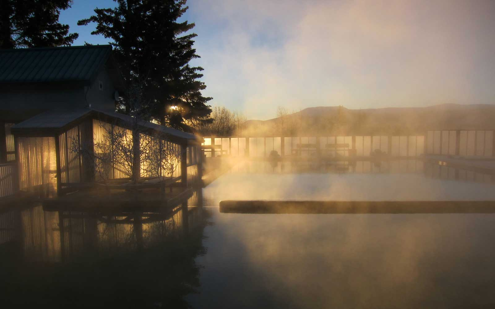 Watch the Northern Lights While Soaking in Canadian Hot Springs