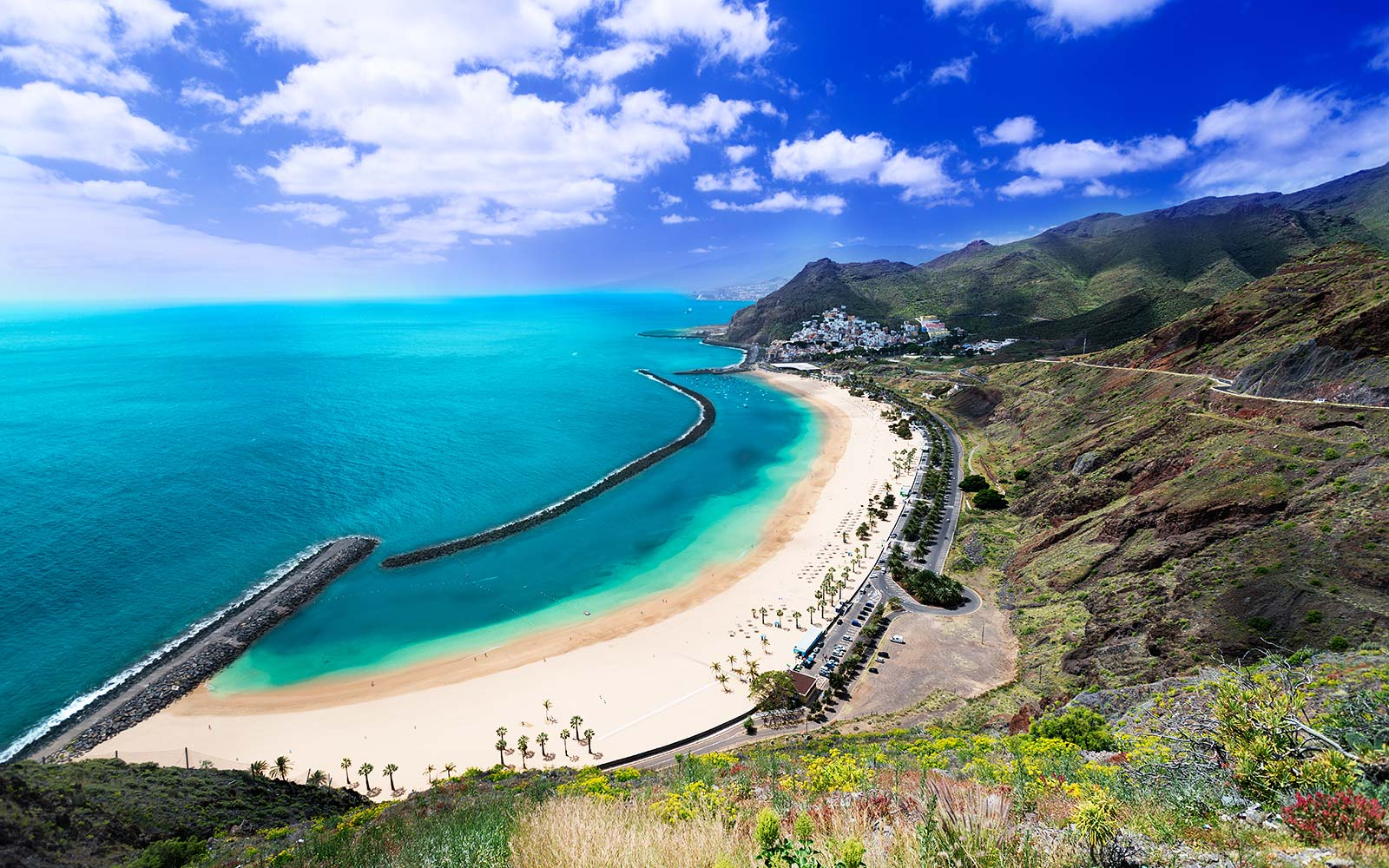 Playa de Las Teresitas, a famous beach near Santa Cruz de Tenerife in the north of Tenerife, Canary Islands, Spain