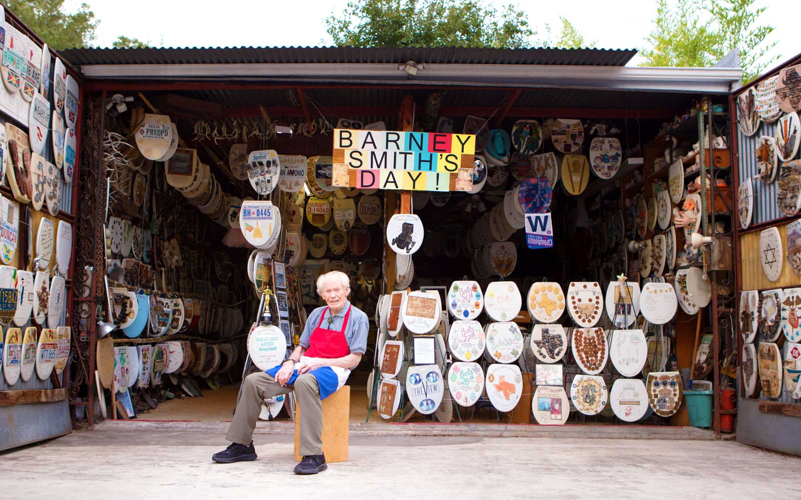 At 96 Years Old, Barney Smith Is Putting His Toilet Seat Art Museum Up For Sale