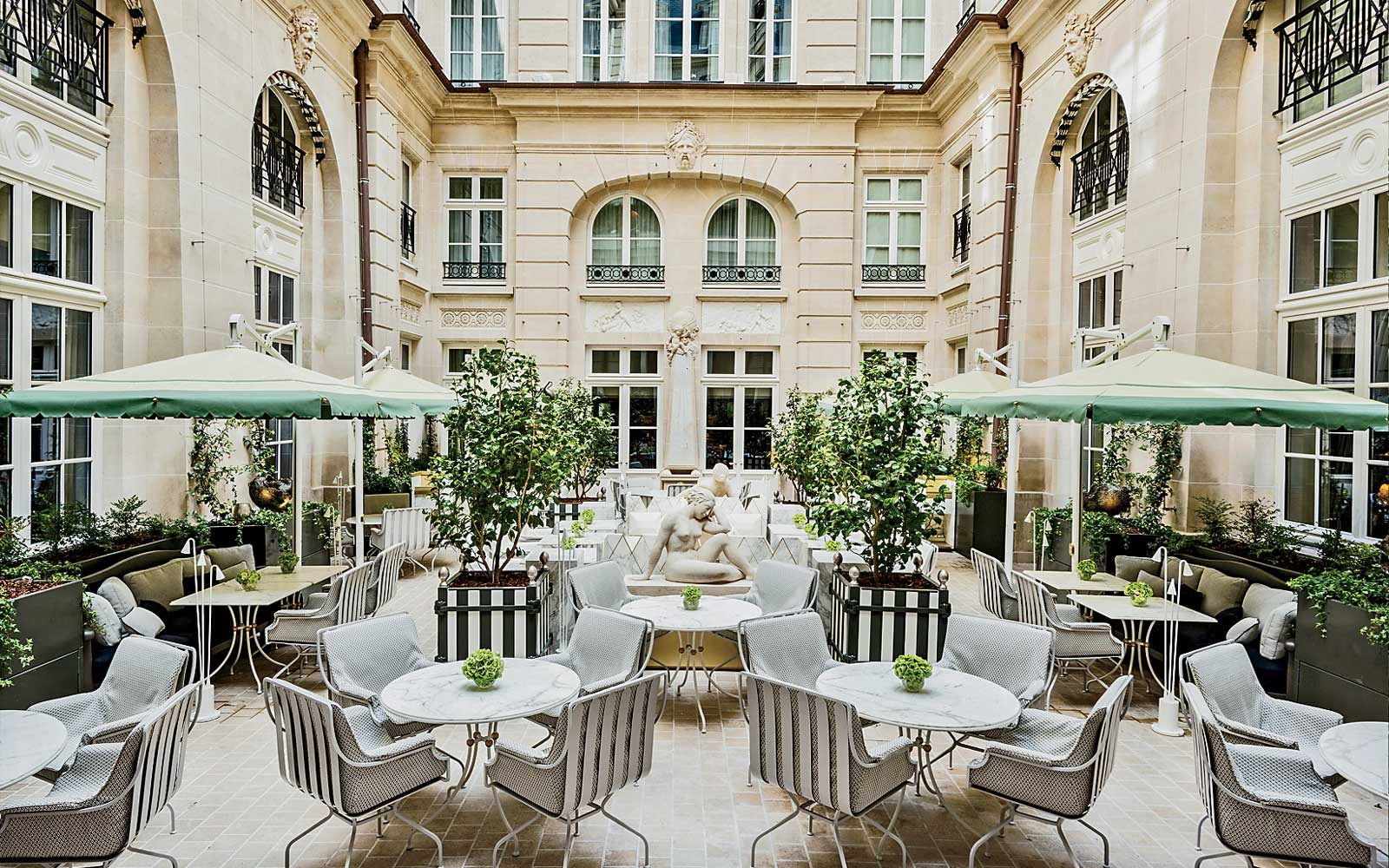 Courtyard dining at the Hotel de Crillon in Paris, France