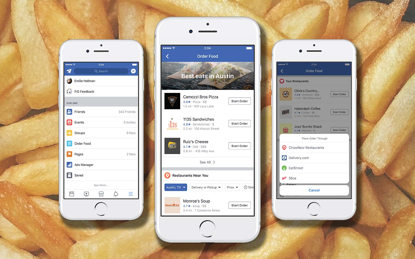 You can now order food right from the Facebook app
