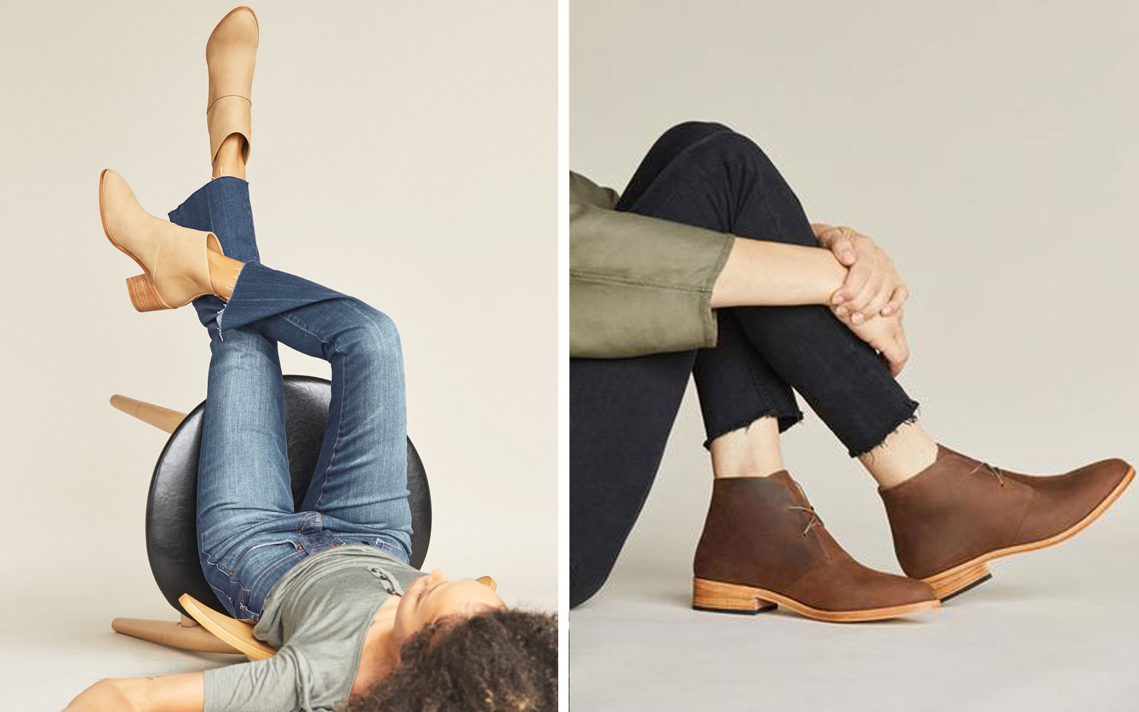Models wearing Nisolo's boots for fall season