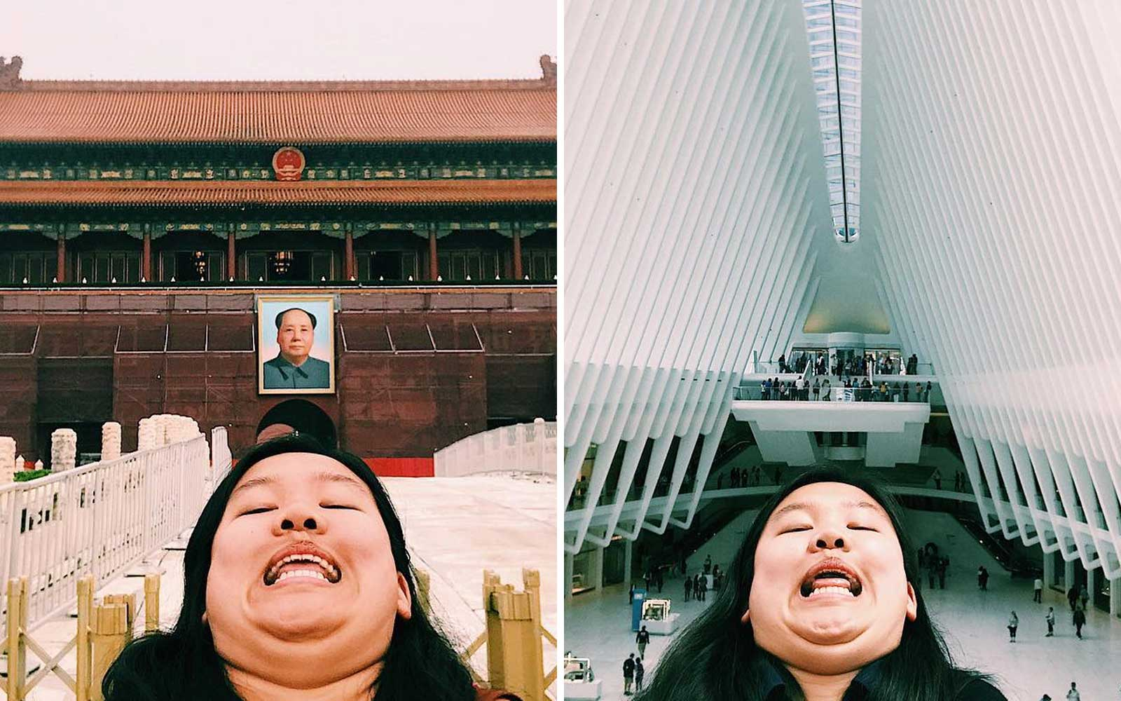 This Traveler Posts Hilarious Chin Selfies From Everywhere She Goes