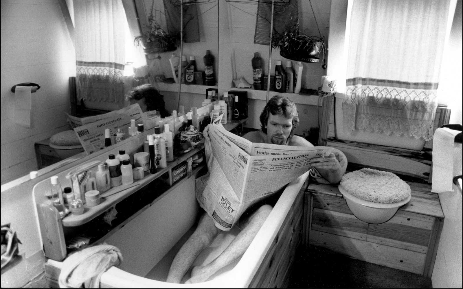 Richard Branson in a bath tub
