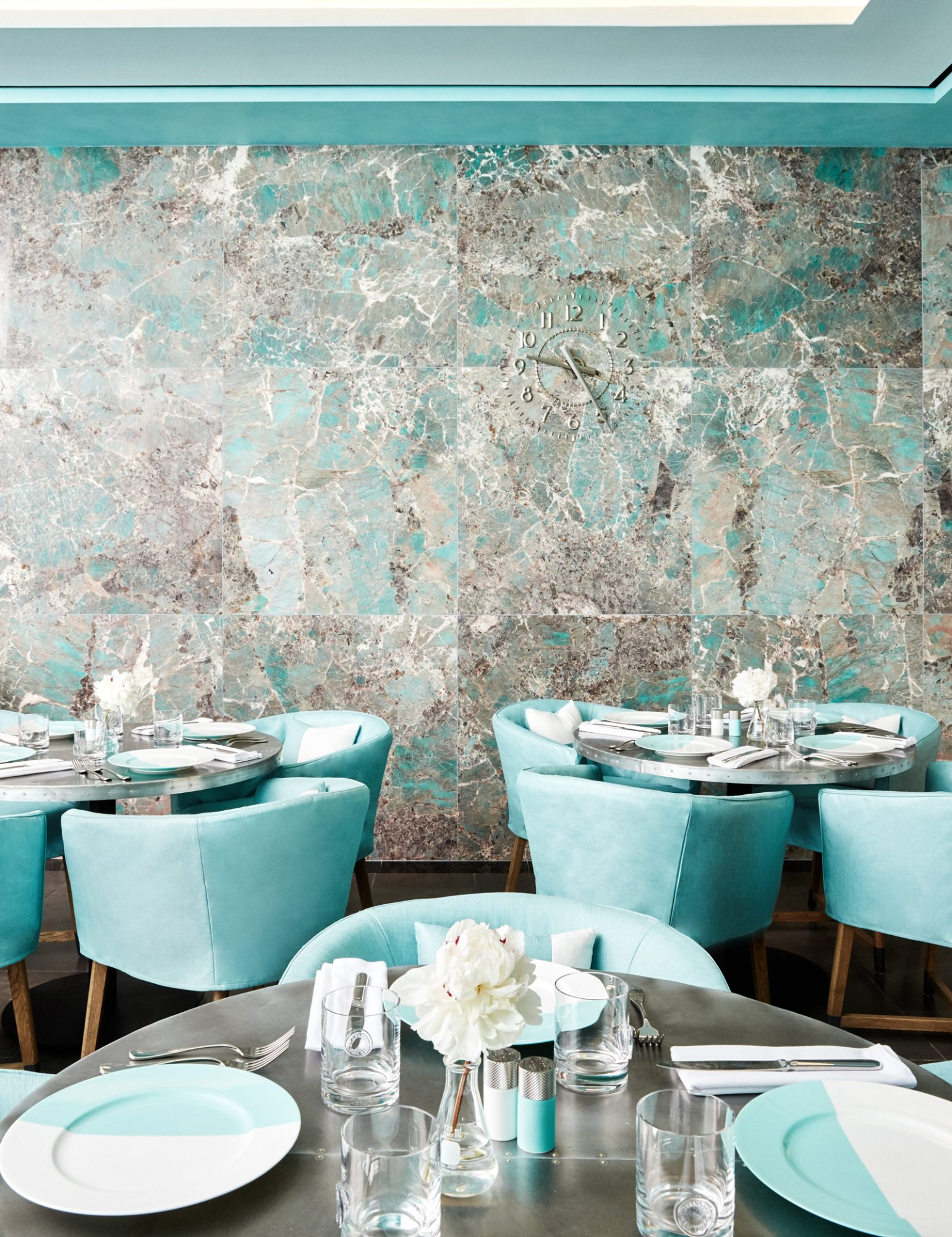The café is decorated in the iconic Tiffany blue.