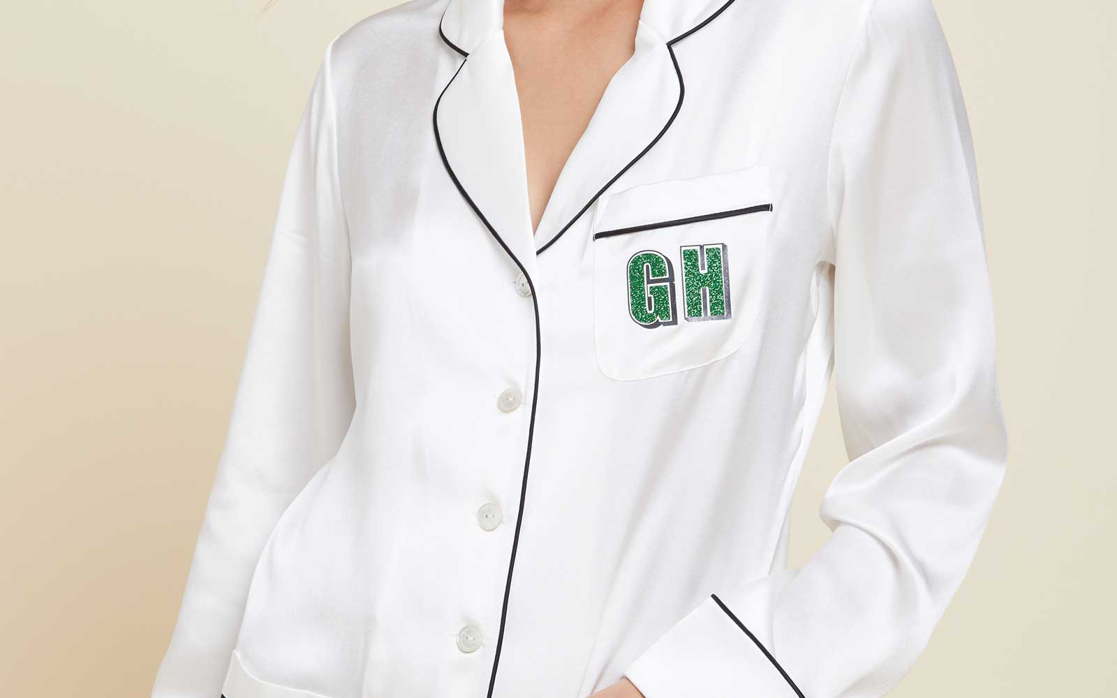 This Lustworthy Silk Pajama Set Now Comes With Glitter Monogramming
