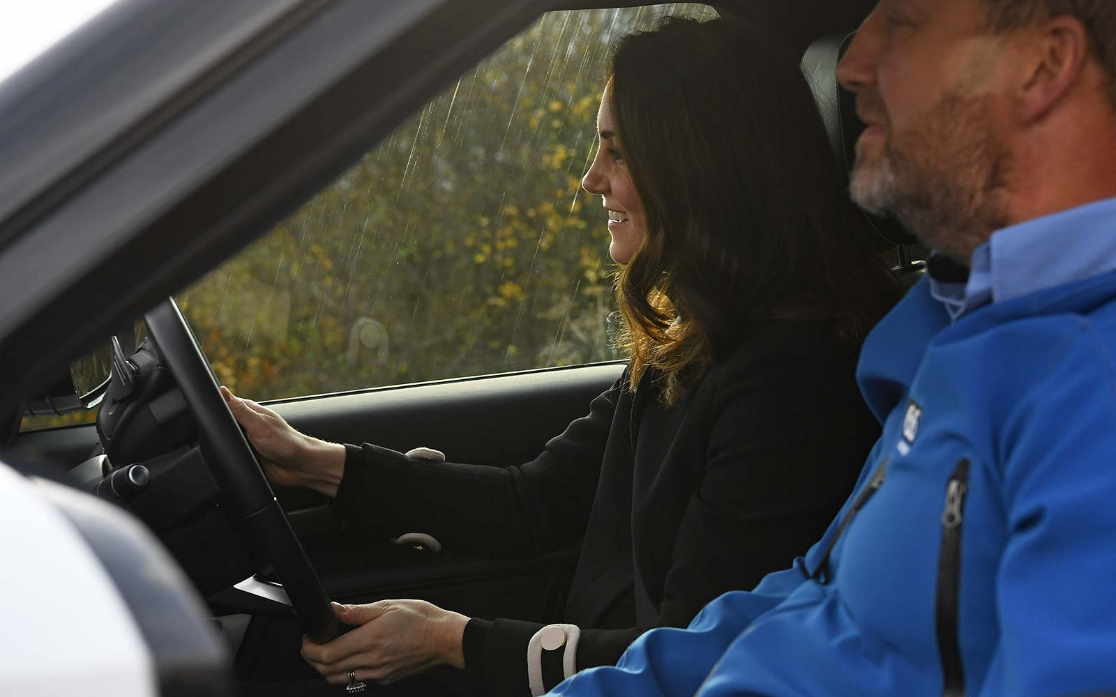 Kate Middleton Prince William Royal Birmingham UK Range Rover car auto factory