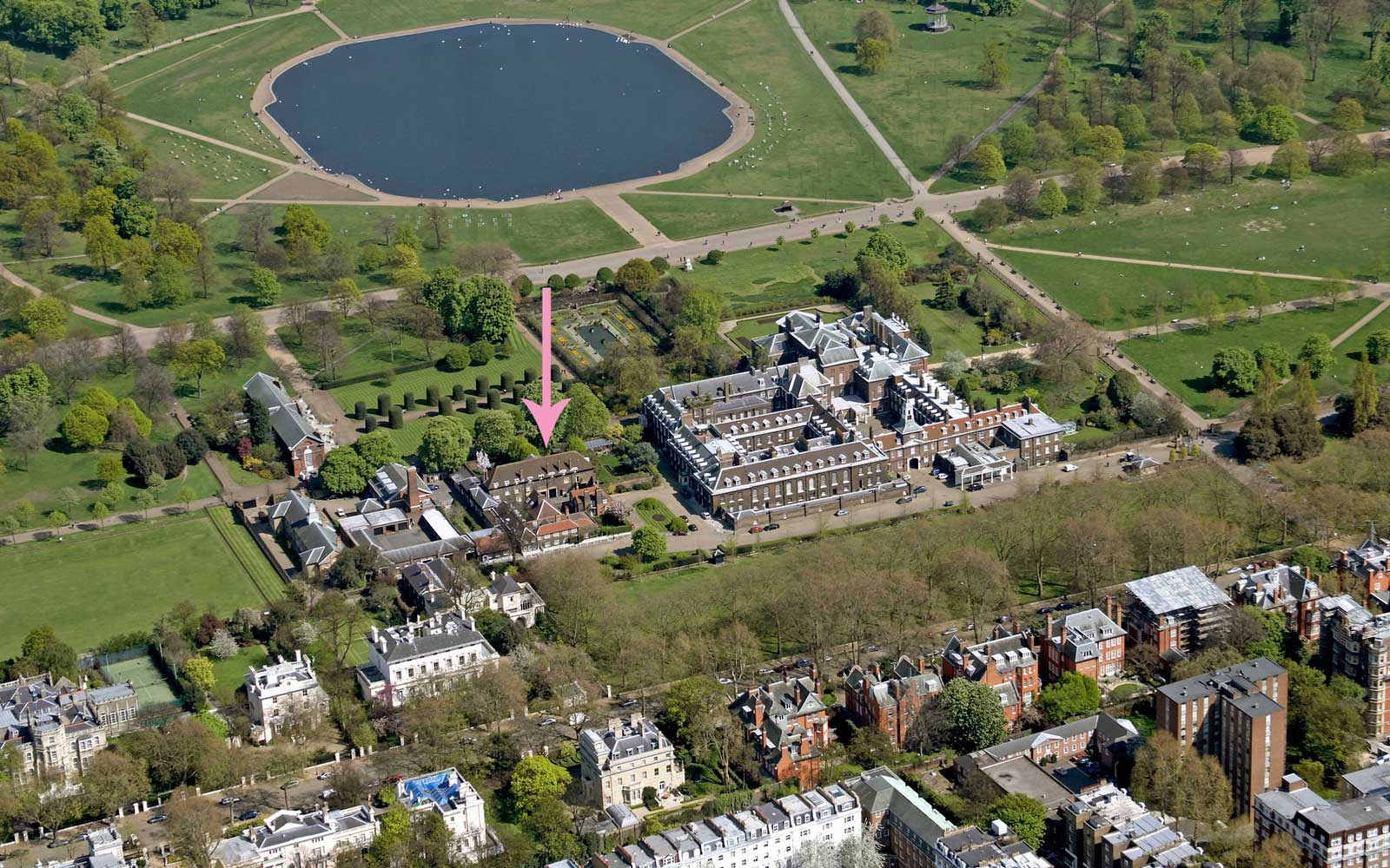 Kensington Palace grounds showing cottage location