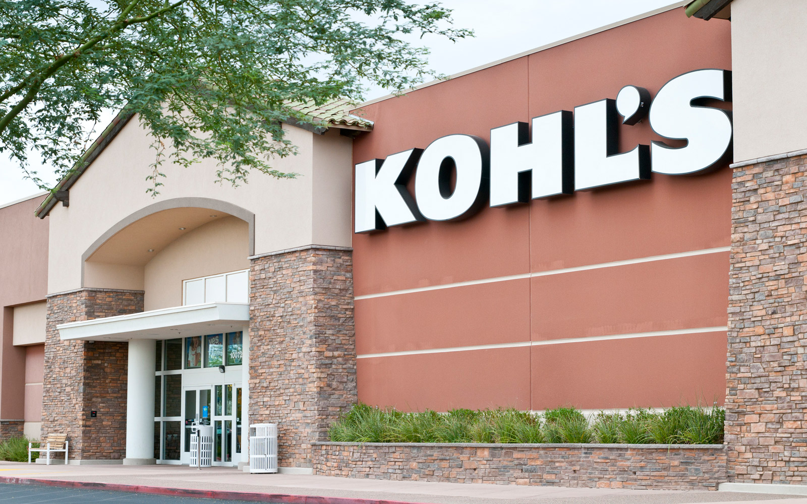 Kohl's Retail Department Store Front with Sign and Trees