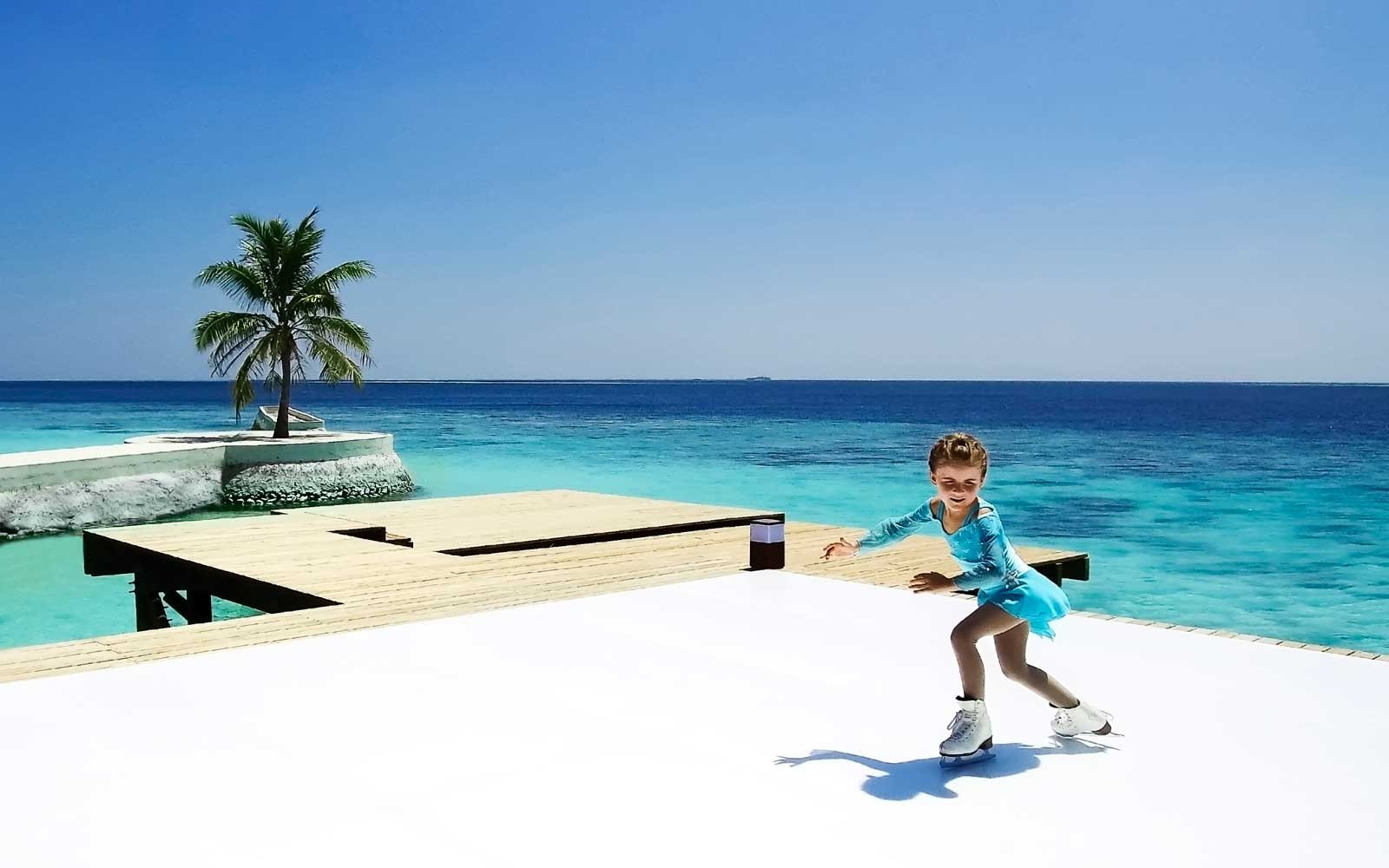 You Can Go Ice Skating on a Tropical Beach in the Maldives