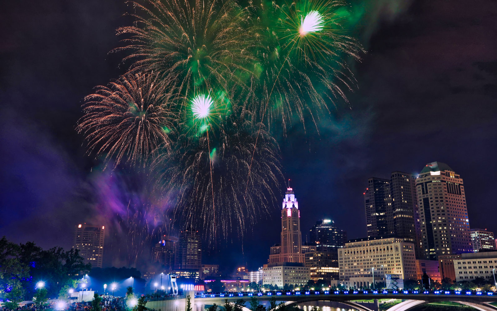 Columbus Ohio skyline with fireworks