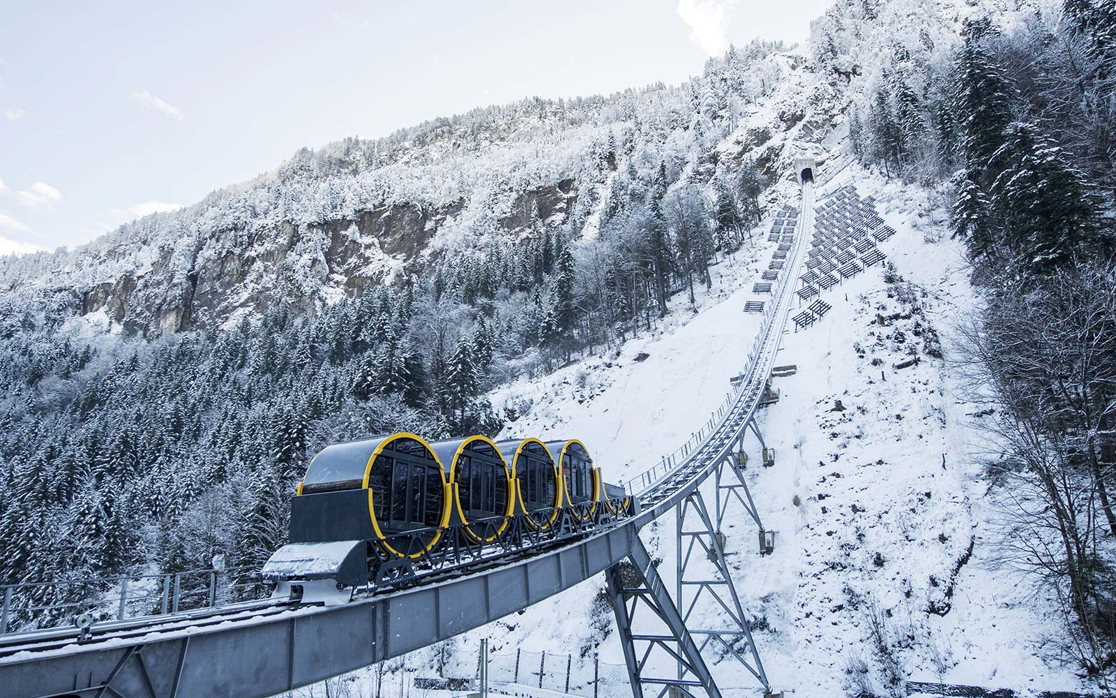 The World's Steepest Funicular Connects Two Gorgeous Swiss Mountain Towns