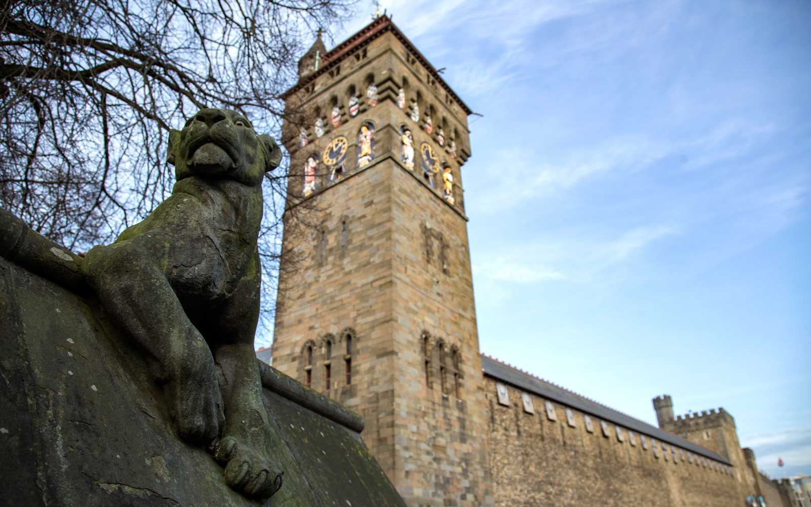 Detail of exterior and statue at Cardiff Castle