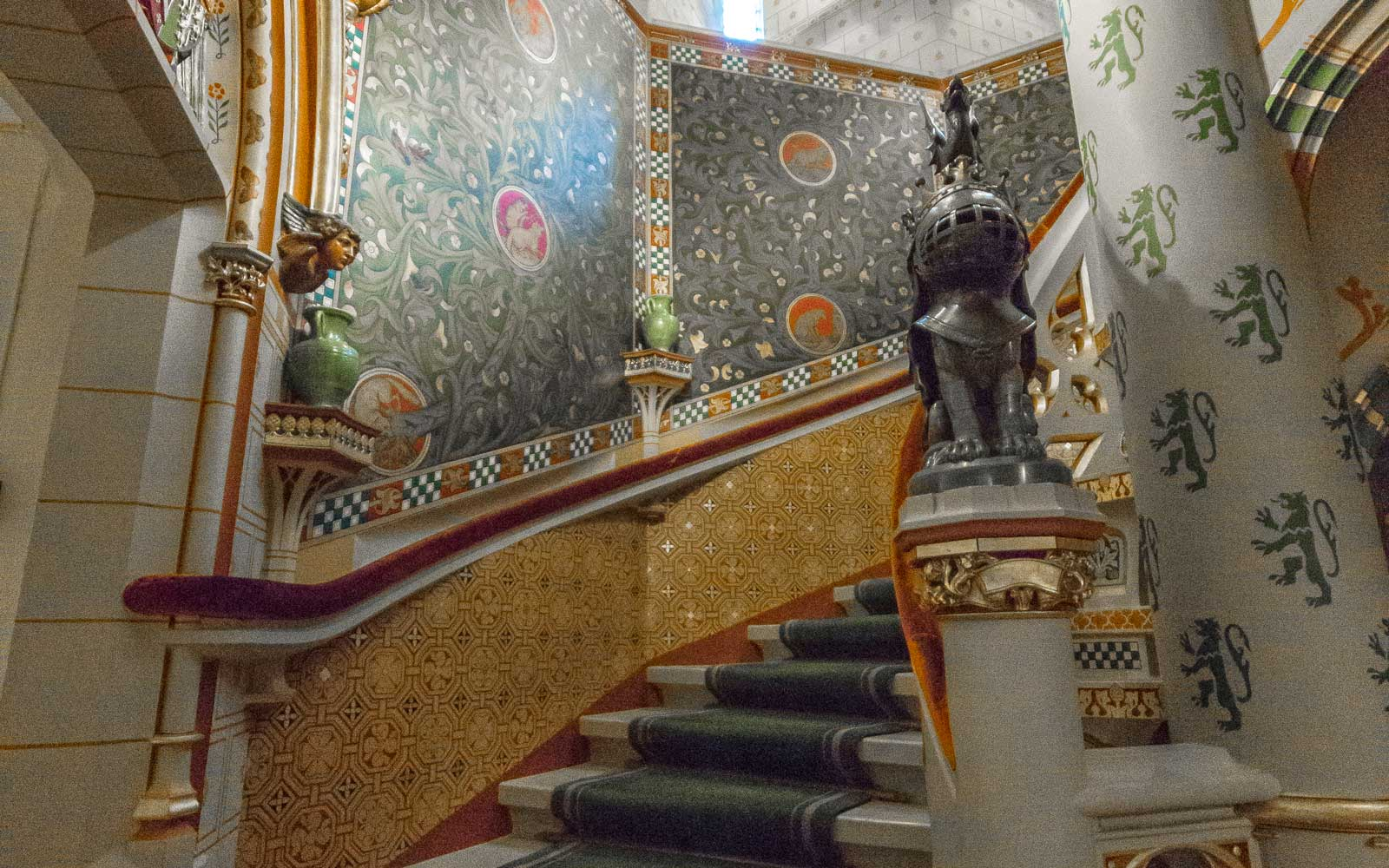 Interior staircase at Cardiff Castle