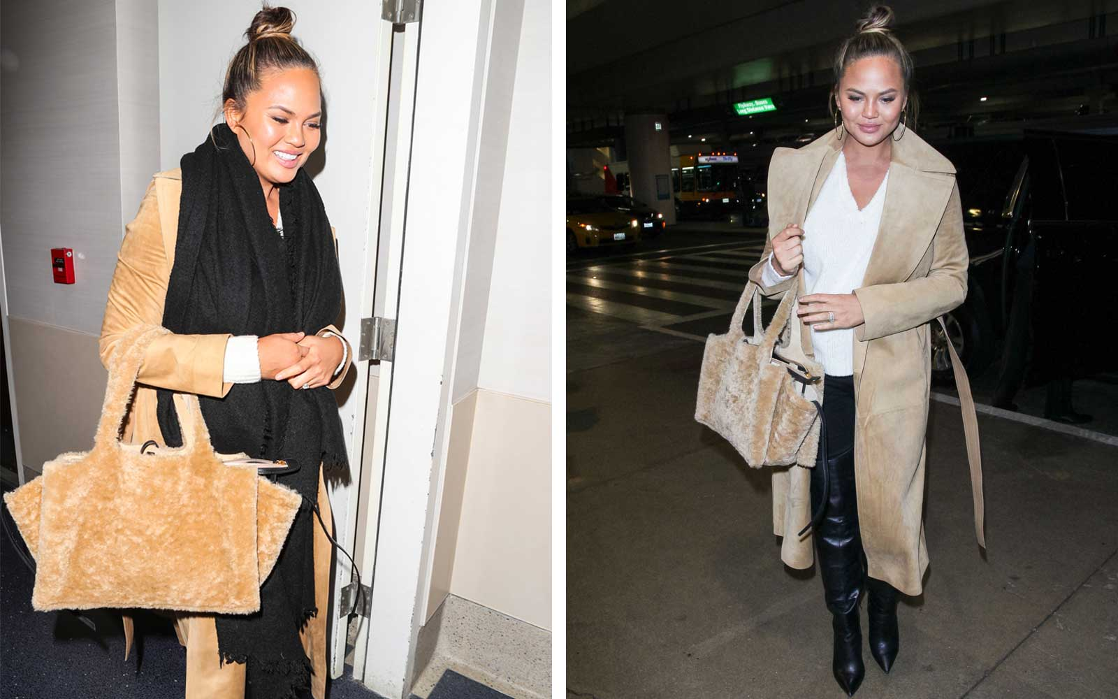 Chrissy Teigen's Fuzzy Handbag Is Also the Perfect Airplane Pillow
