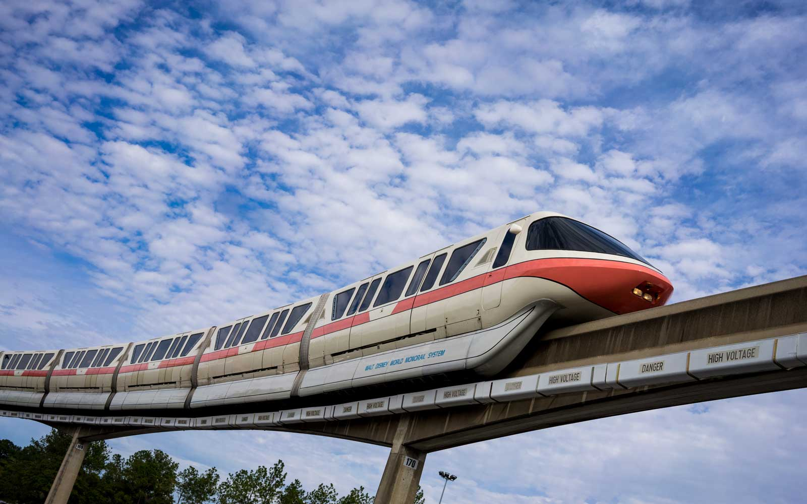 The Walt Disney World Monorail glides along the Epcot line, Epcot, Walt Disney World, Florida.