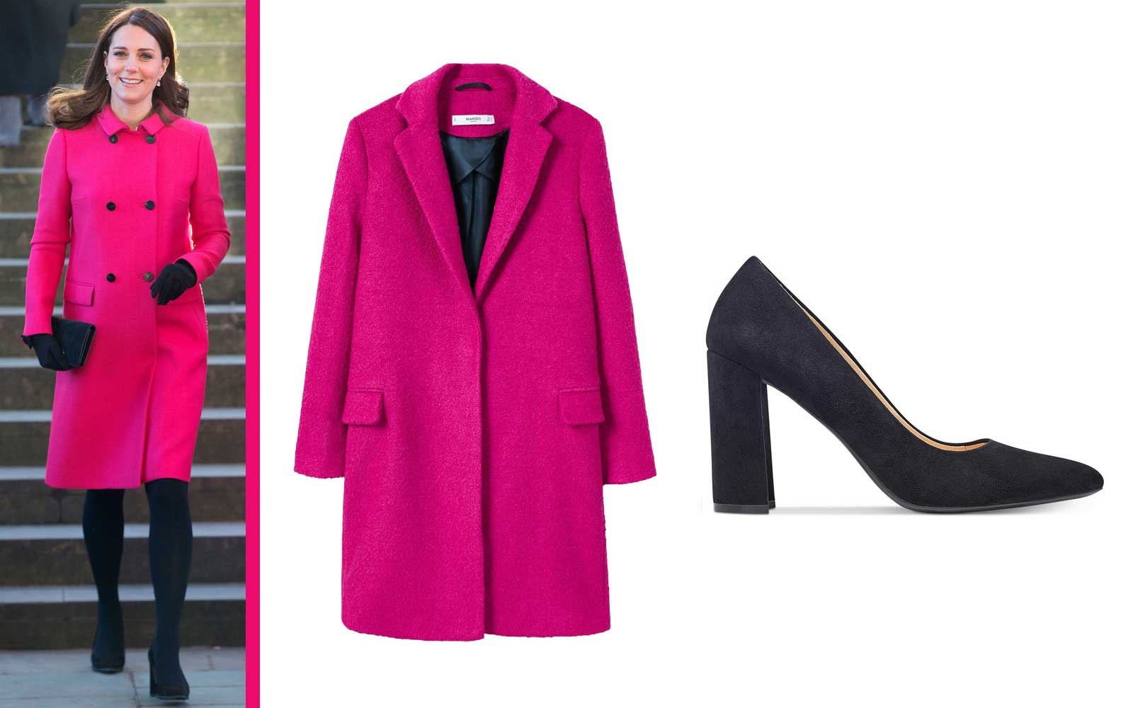 Kate Middleton Hot Pink Coat and Black Heels