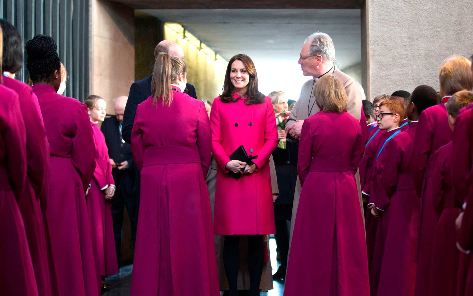 Catherine, Duchess of Cambridge meet choristers after taking part in the Coventry Litany of Reconciliation