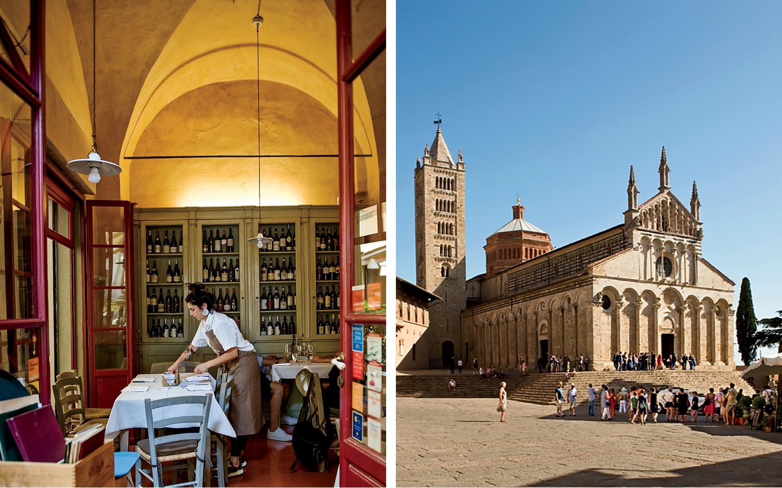 The interior of La BotteGaia restaurant, and the cathedral of Massa Maritima, in Italy