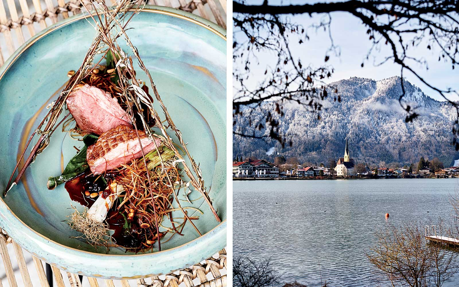 Lamb at Mizu restaurant, and a view of Tegernsee Lake and Rottach-Egern