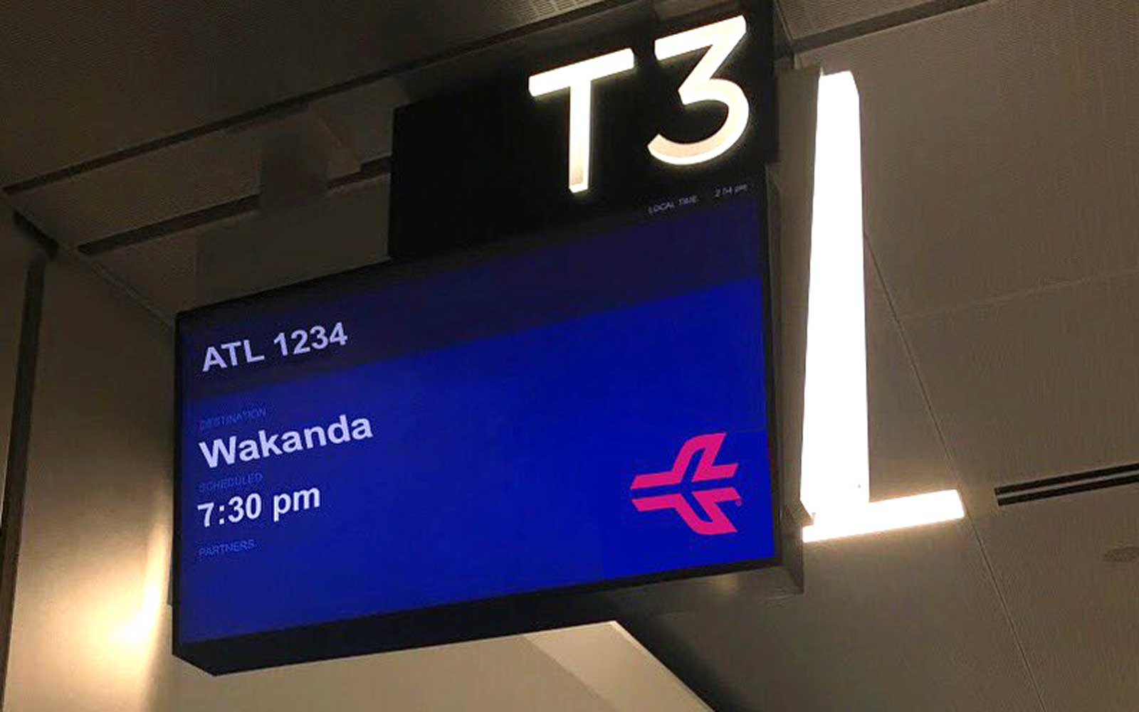 Atlanta Airport Tweet Sign for Flight to Wakanda