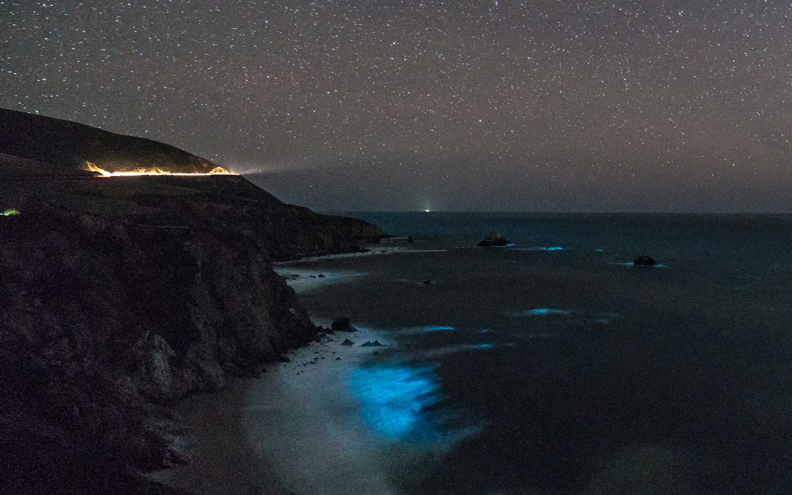 Bioluminescence in the bay at Big Sur, California