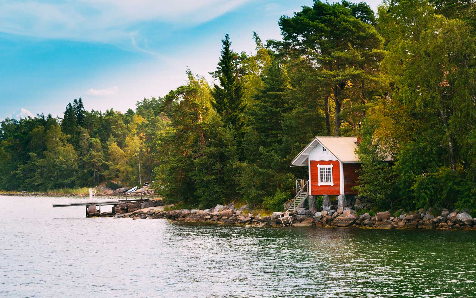 Red Small Finnish Wooden Sauna Log Cabin Island Autumn Season