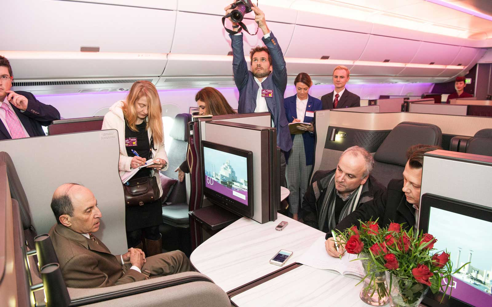 Inside the first class cabin at the launch of the Qatar Airlines Airbus A350-1000