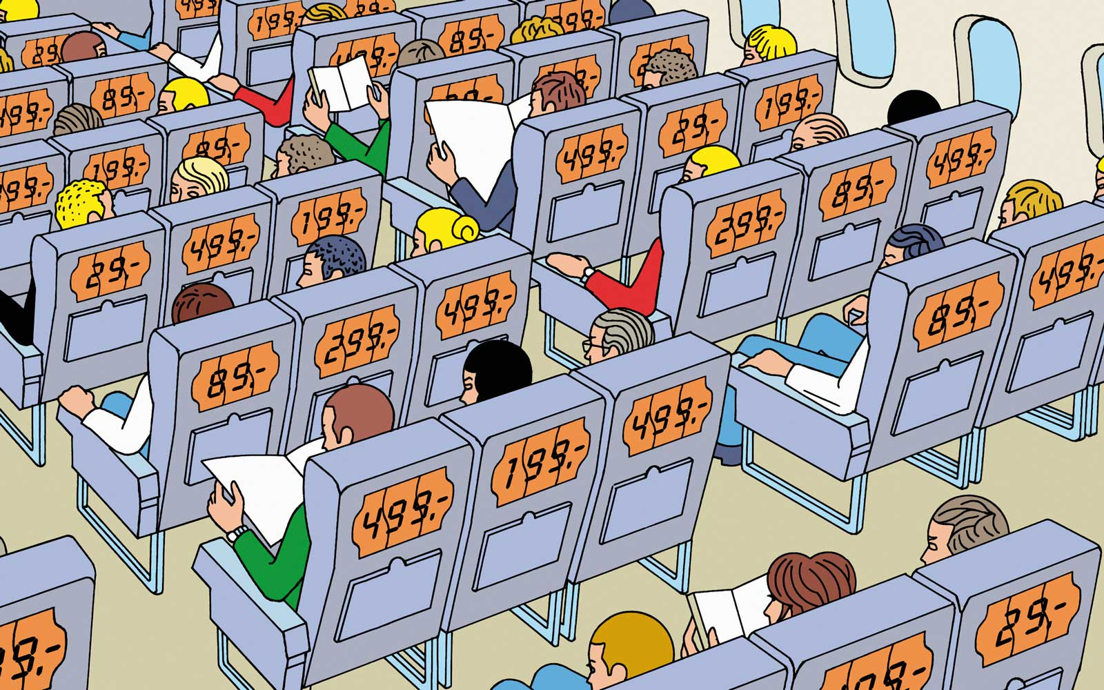People on plane all paying different fares for seats