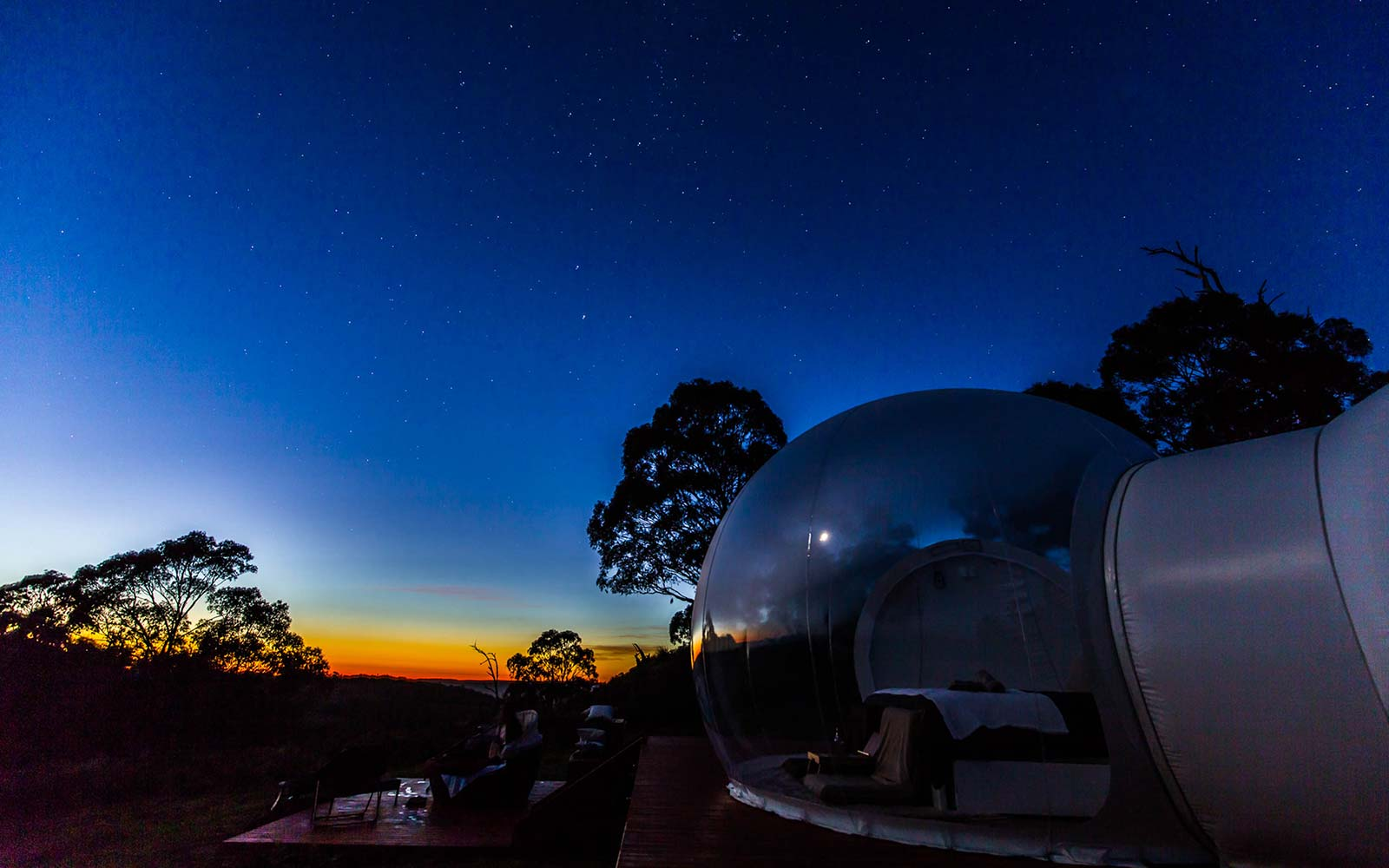 sleep under the stars in a bubble tent in australia travel leisure