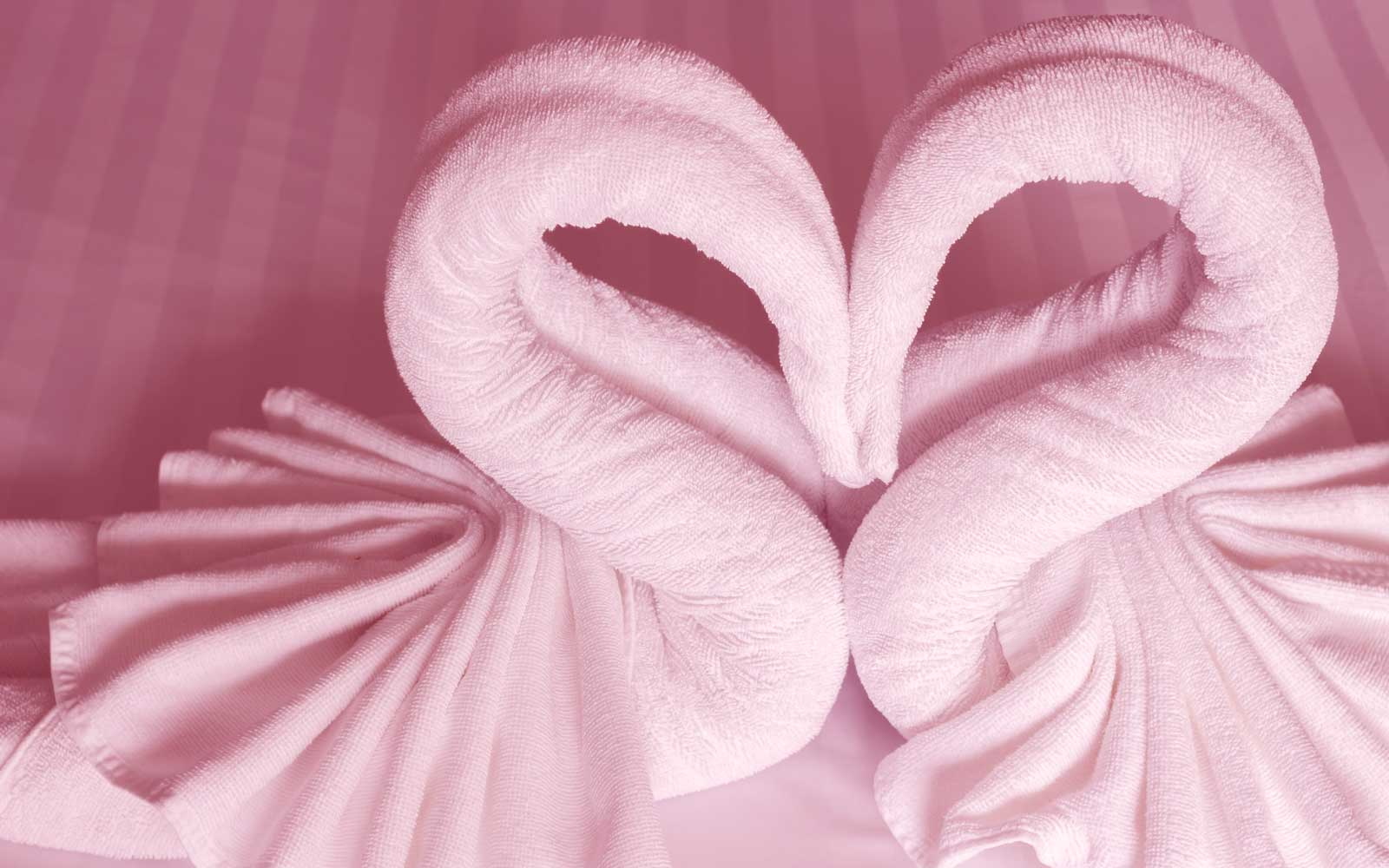 Hotel towels shaped like swans into a heart