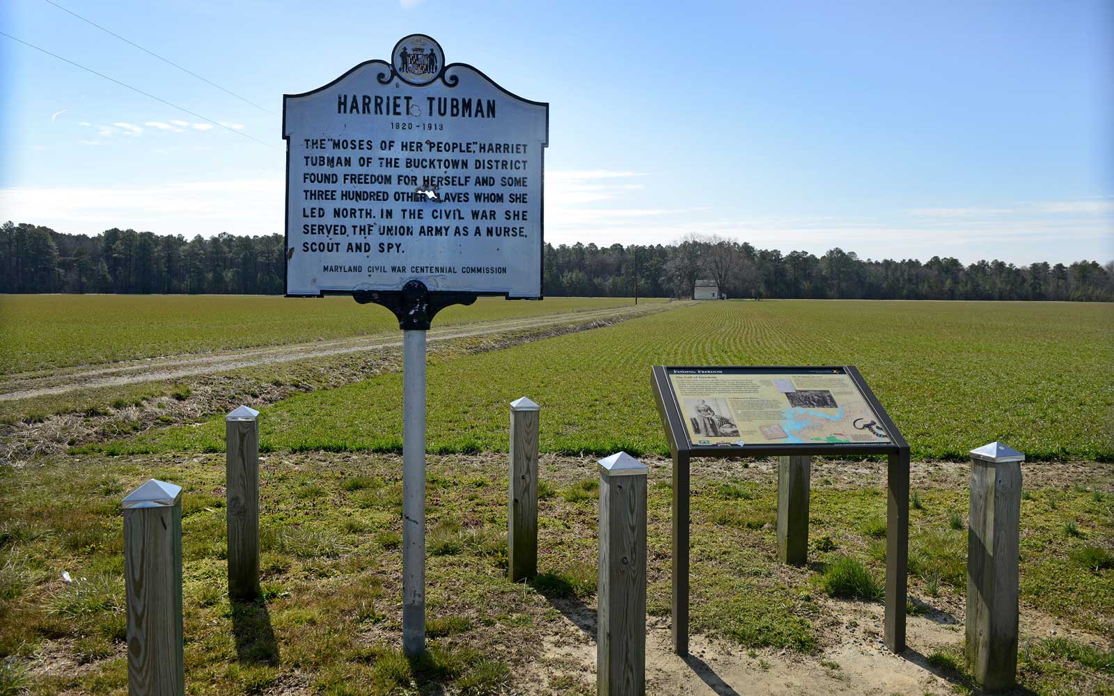 View of the Harriet Tubman Historical Marker at  Brodess Farm in Cambridge, MD