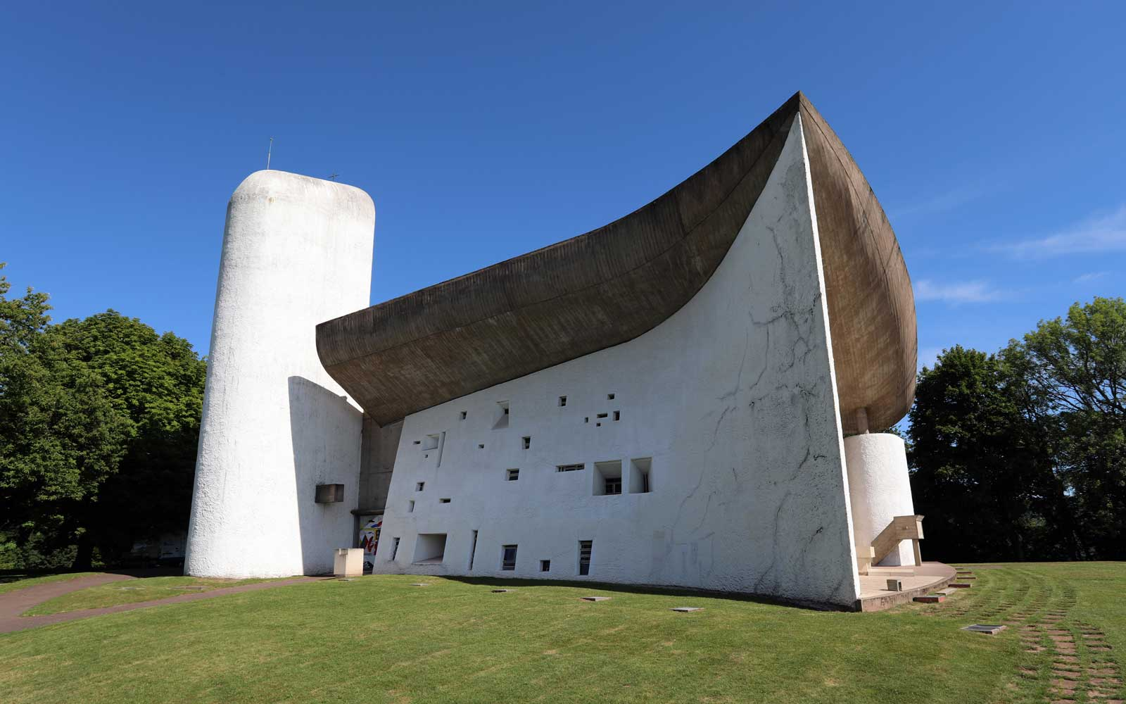 Notre Dame du Haut chapel in Ronchamp, France, designed by architect Le Corbusier. The chapel is on the UNESCO World Heritage List.