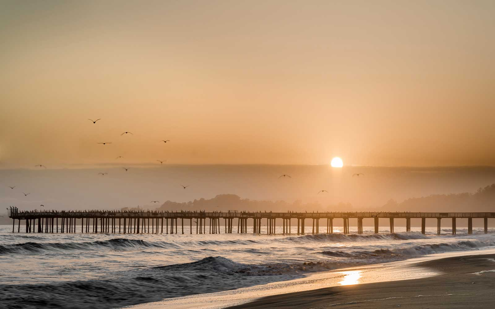 Hazy Sunset over Seacliff State Beach.