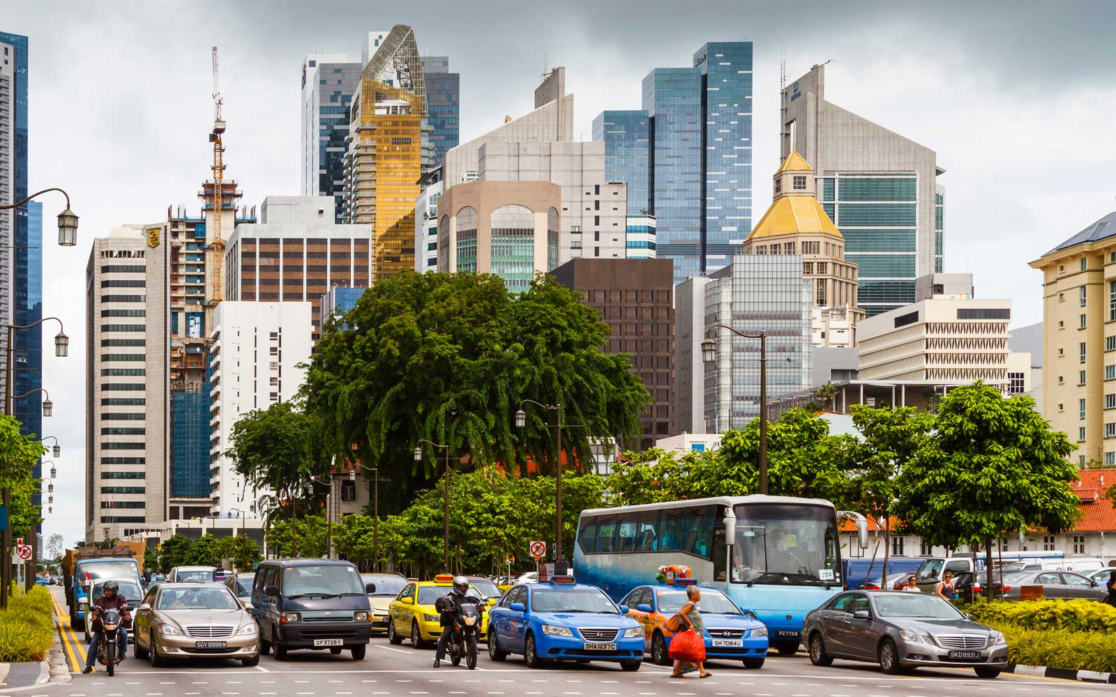 Skyscrapers and traffic. Singapore, Asia
