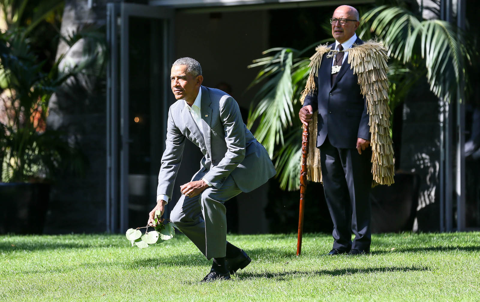 Barack Obama attends a powhiri at Government House on March 22, 2018 in Auckland, New Zealand.