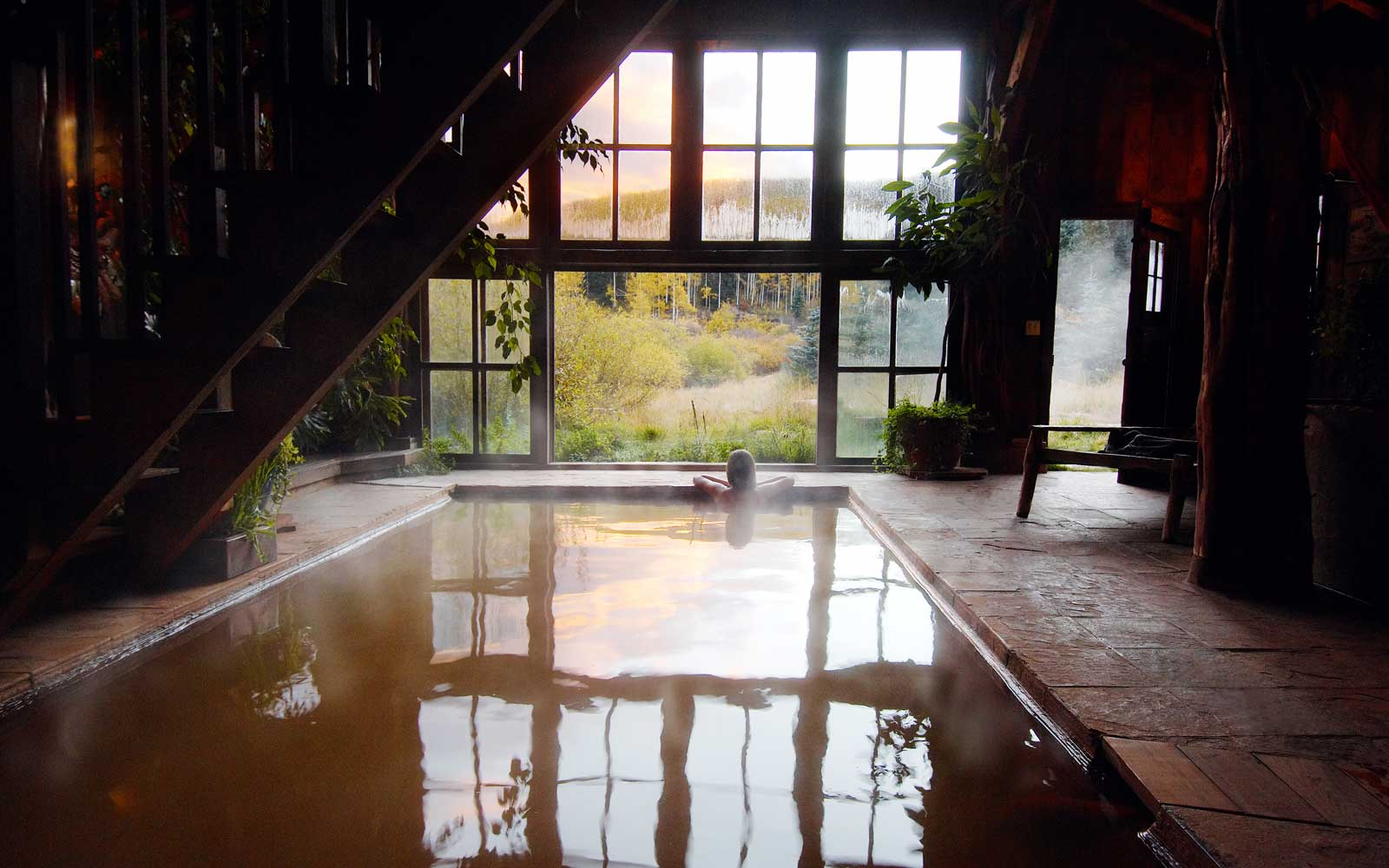 View from inside the bath house at Dunton Hot Springs, Colorado horizonasia