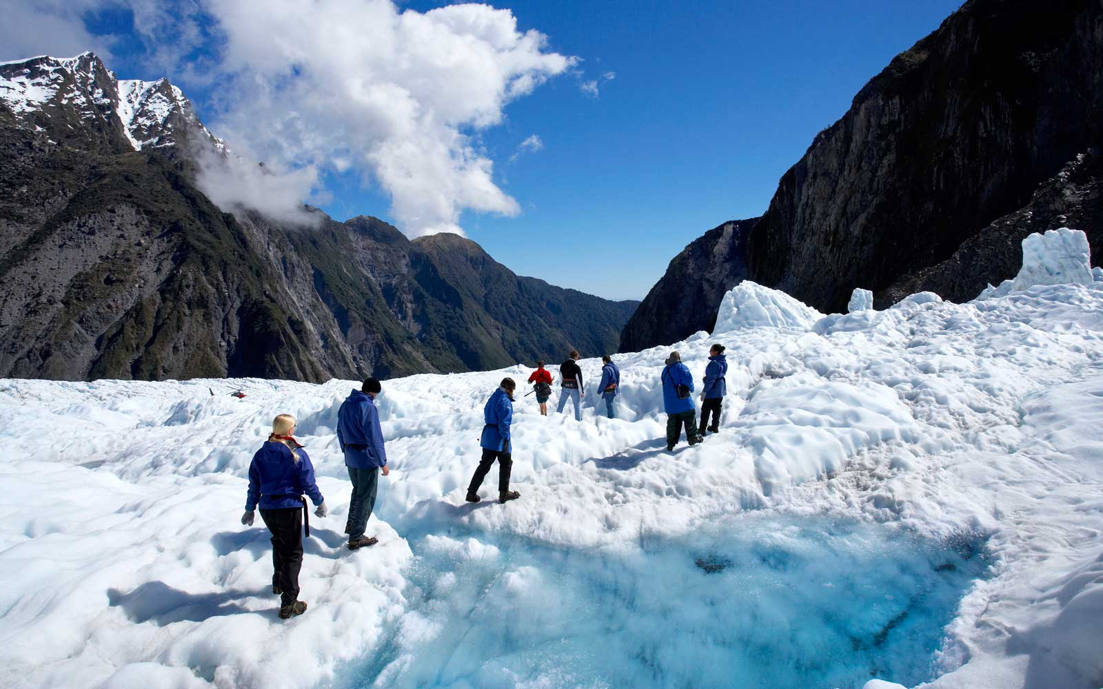 Hikers on Franz Josef Glacier, Westland National Park, South Island, New Zealand