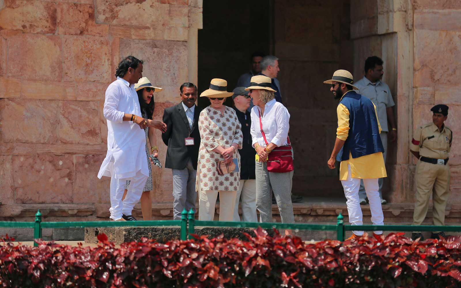 Hillary Clinton tours the Jahaj Mahal part of an abandoned royal palace complex, while on a personal trip to the ancient city of Mandu in India's Madhya Pradesh state on March 12, 2018.