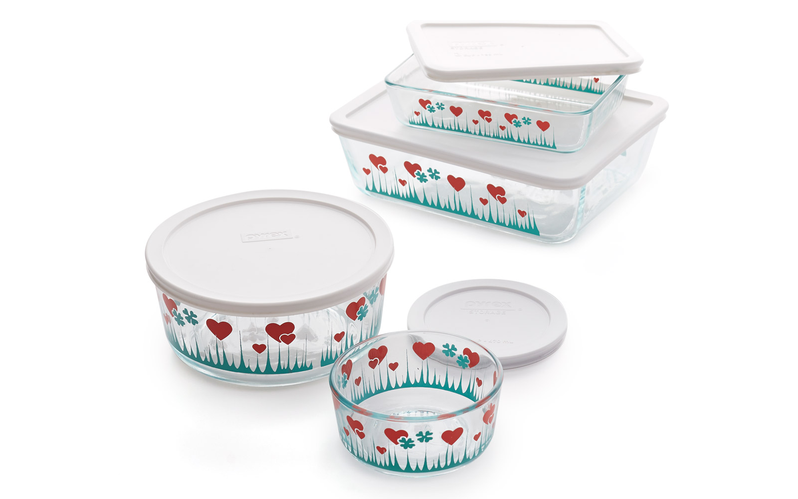 Pyrex containers with Lucky in Love pattern