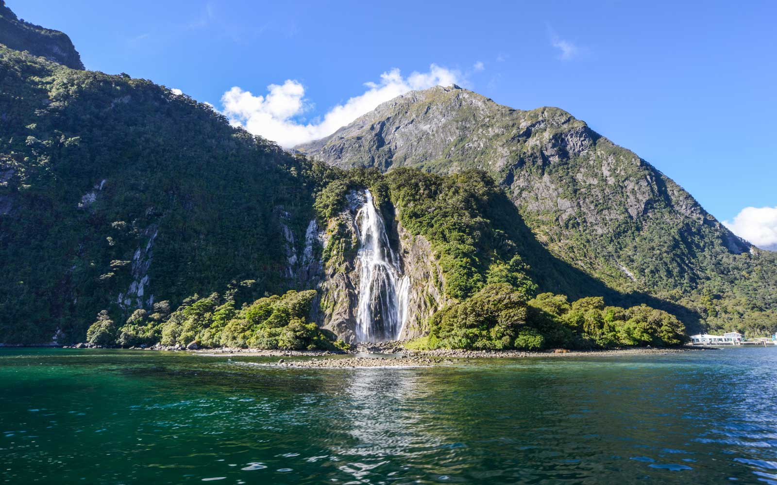 Waterfalls at Milford Sound, South Island, New Zealand