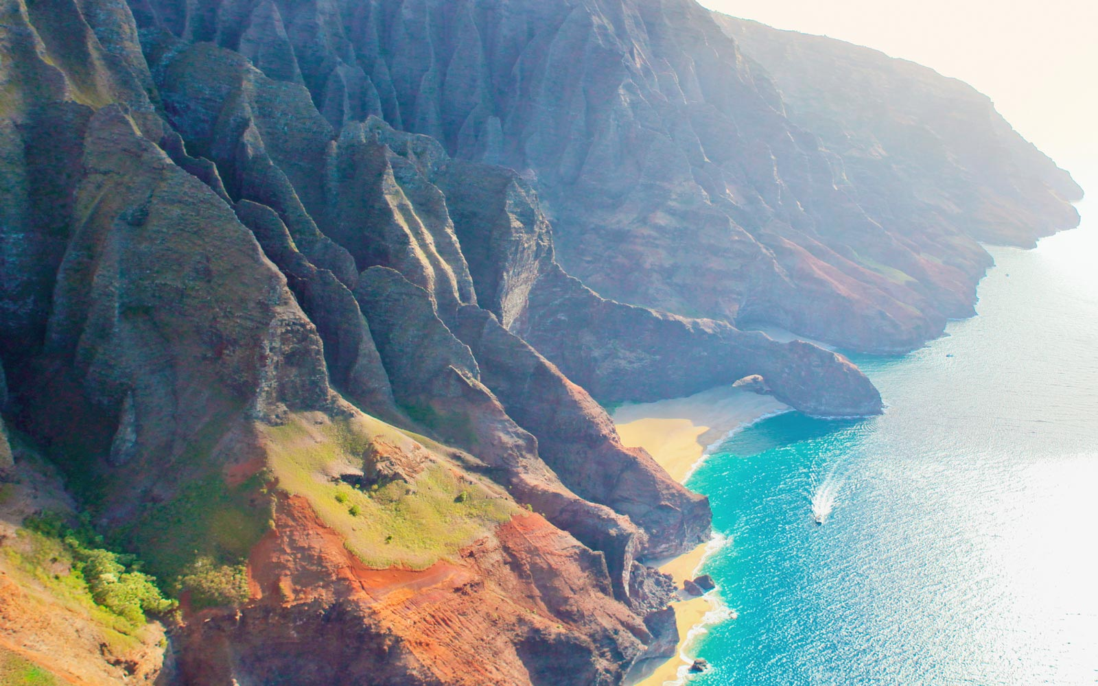 View of Hawaii's Napali Coast from the air